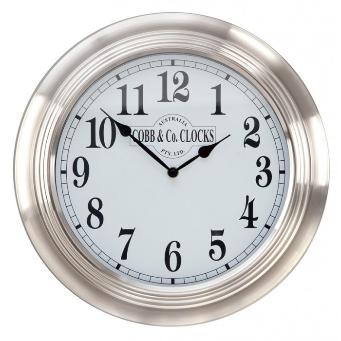 cobb co stainless steel wall clock. Black Bedroom Furniture Sets. Home Design Ideas