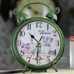 Vintage Rustic Style Green Iron Desk Clock