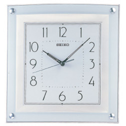 Seiko Wall Clock Quiet Sweep Silver-Tone Metallic Case Large Arabic Numerals Wall Clock