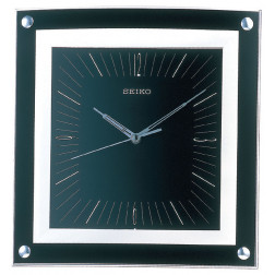 Seiko Wall Clock Quiet Sweep Second Hand Clock Black Metallic Case
