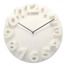 White Thick Numbers Contemporary Wall Clock