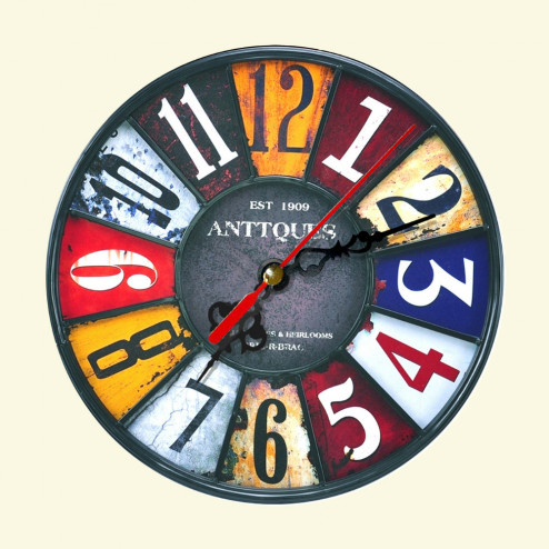 Rustic Antique Style Wooden Wall Clock