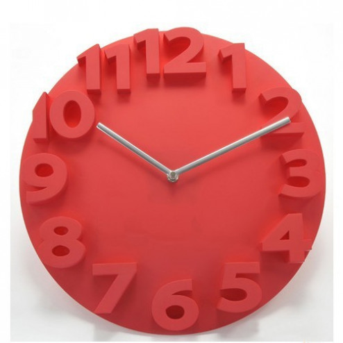 Red Thick Numbers Contemporary Wall Clock
