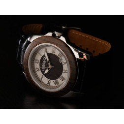 COBB & Co. Ebony Leather and Wood Watch
