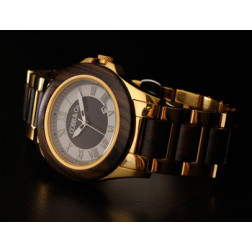 COBB & Co. Gold and Ebony Wood Watch
