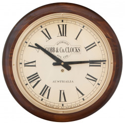 COBB & Co. Large Railway Wall Clock, Roman Numerals, Walnut, 40cm (15.75 inches) wide