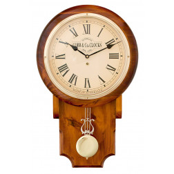 COBB & Co. Pendulum Chime Clock, Roman numerals, Golden Oak, (32cm wide x 55cm tall)