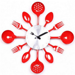 Red Knife Fork Spoon Wall Clock