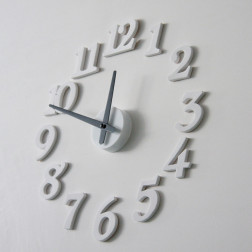 DIY Contemporary White Numbers Wall Clock