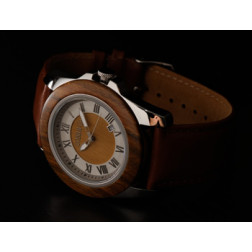 """COBB & Co. Green Sandalwood """"Casual"""" Leather and Wood Watch"""