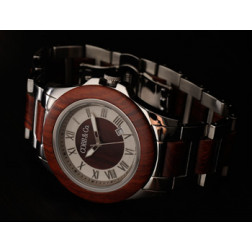 """COBB & Co. Red Sandalwood """"Freeman Cobb"""" Stainless Steel and Wood Watch"""