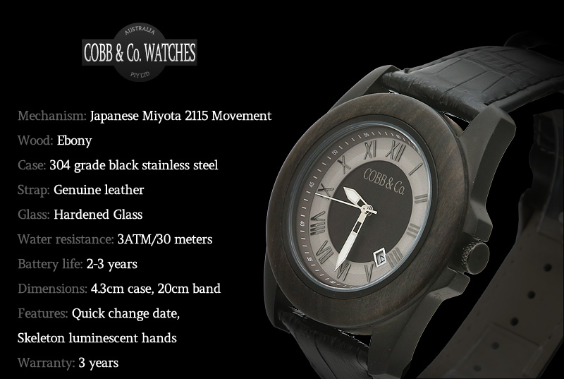 Black Ebony Leather WoodWatch Overview