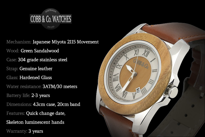 Green Sandalwood Wood Watch Features Overview